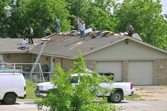 Working on emergency roof repair in Vancouver